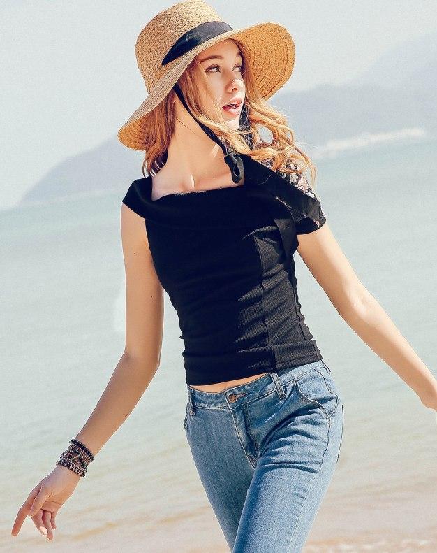 Black Off Neckline Short Sleeve Fitted Women's T-Shirt