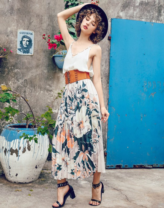 Colourful Women's Pleated Skirt