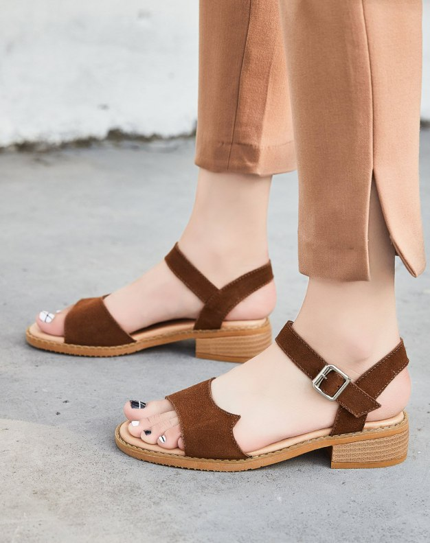 Coffee Middle Heel Anti Skidding Women's Sandals