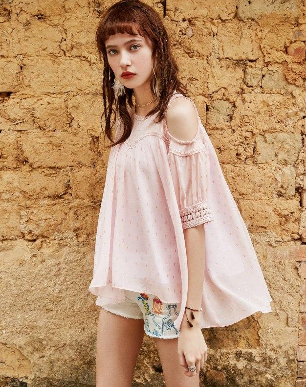 Pink Plain Round Neck Elastic Half Sleeve Loose Women's Shirt