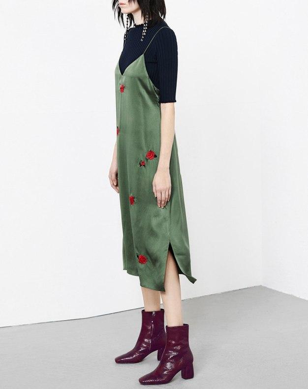 그린 민소매 A라인 여성 드레스