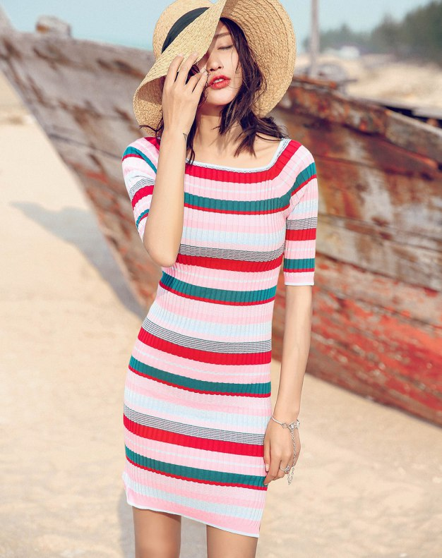 Round Neck Sleeve Bodycon Standard Women's Dress