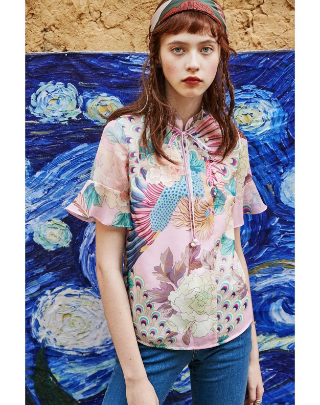 Colourful Stand Collar Short Sleeve Women's Shirt