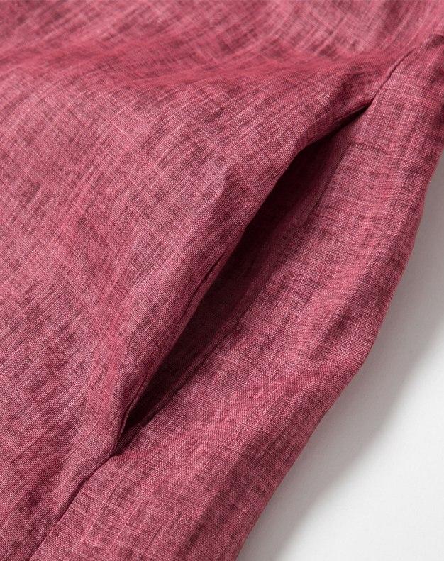 Red Round Neck Half Sleeve Long Loose Women's Dress