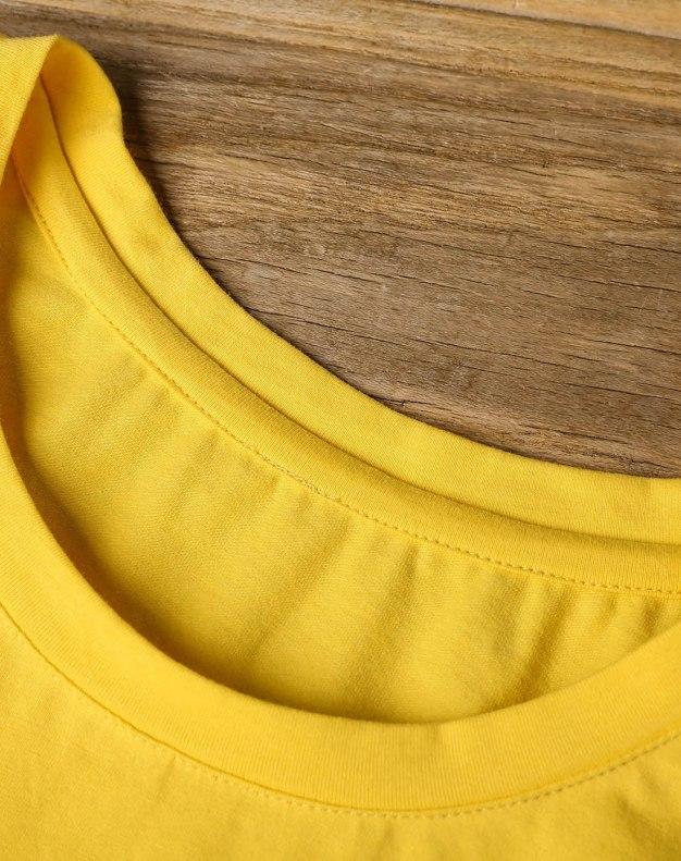 Yellow Round Neck Short Sleeve Standard Women's T-Shirt