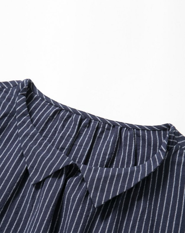 Blue Stripes 3/4 Sleeve Fitted Women's Shirt