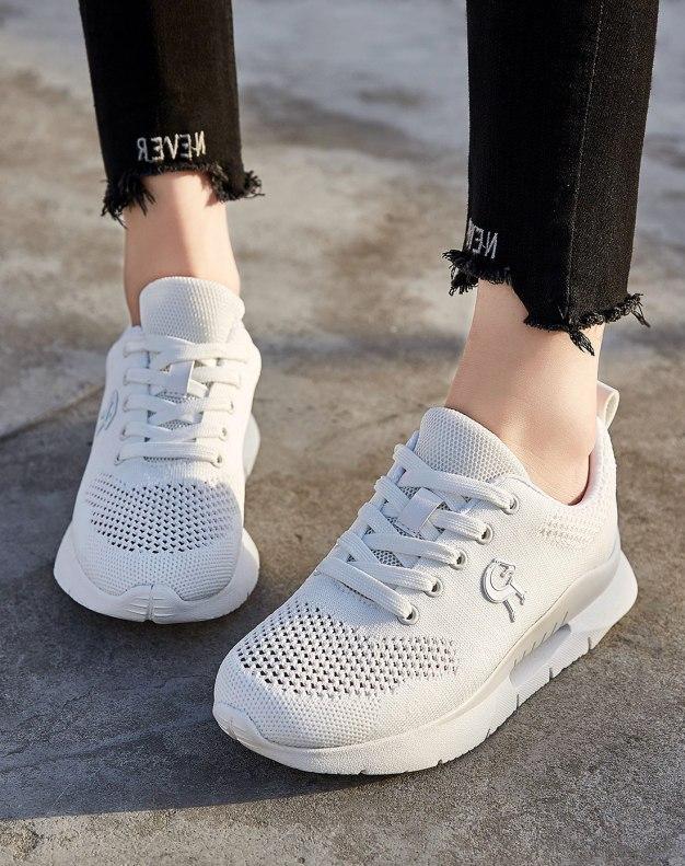 White Round Head Flat Women's Sport Shoes