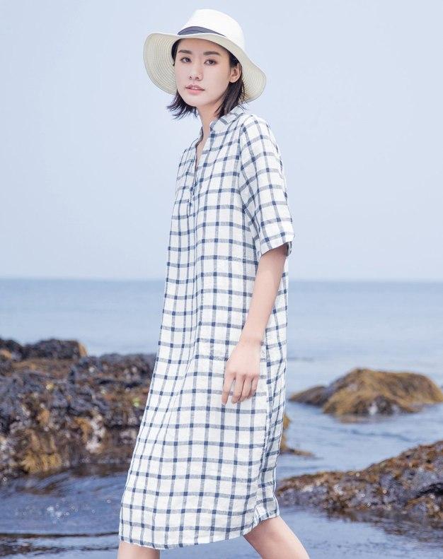 White Stand Collar Half Sleeve Long Loose Women's Dress
