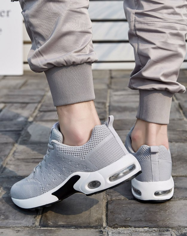 Gray Round Head Portable Men's Casual Shoes