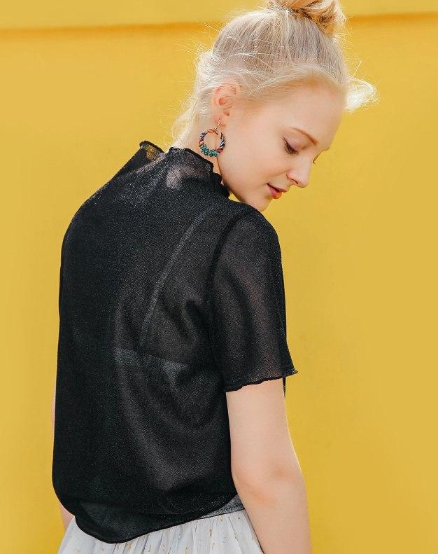 Black Round Neck Short Sleeve Standard Women's T-Shirt