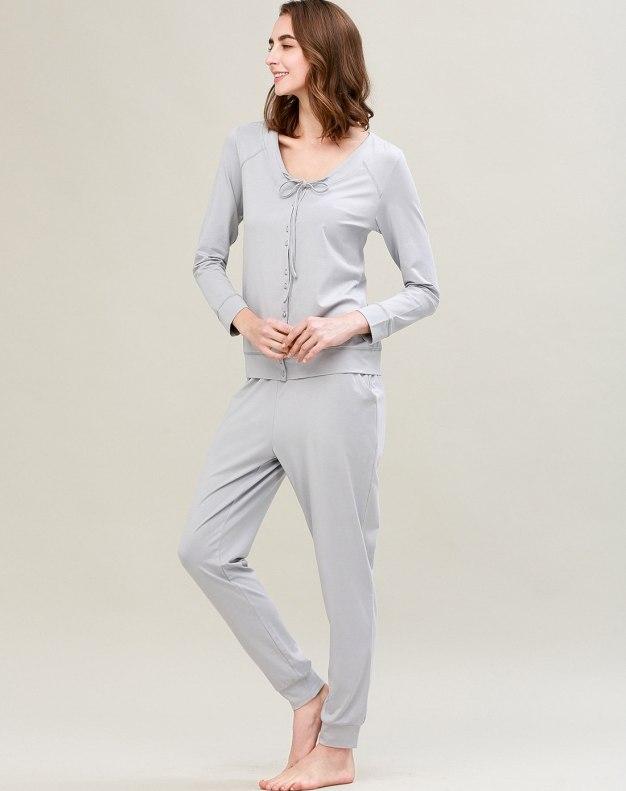 Gray Cotton Sleeve Standard Women's Loungewear