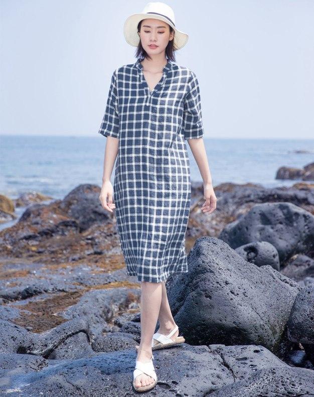 Blue Stand Collar Half Sleeve Long Loose Women's Dress