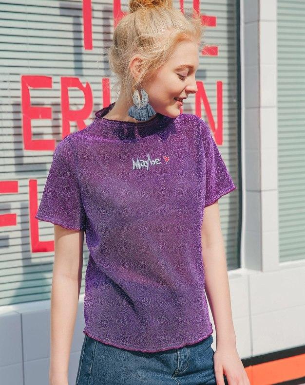 Purple Round Neck Short Sleeve Standard Women's T-Shirt