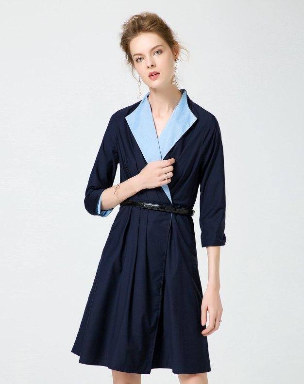 청색 3/4소매 A라인 스커트 여성 드레스