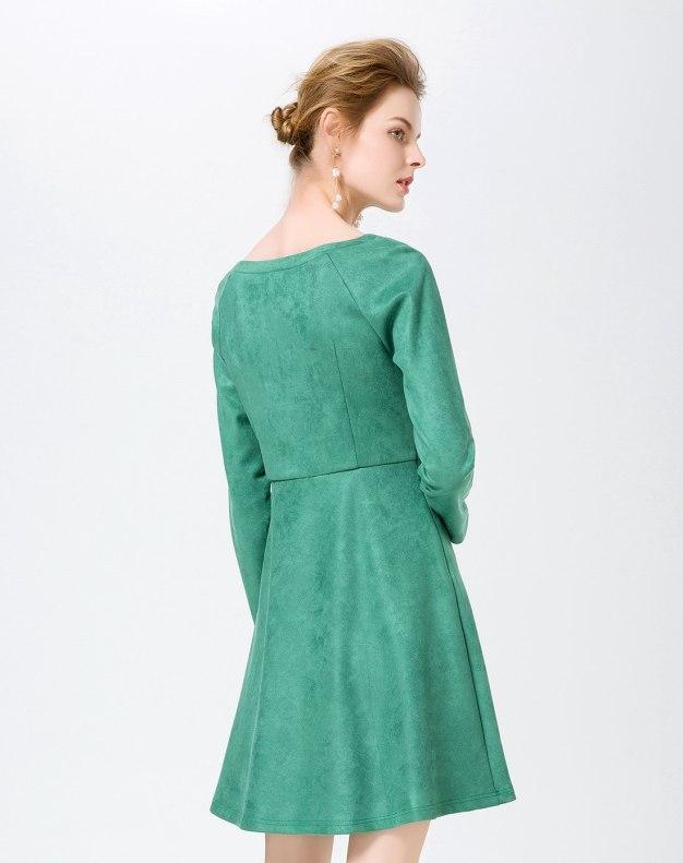 그린 긴소매 A라인 스커트 여성 드레스