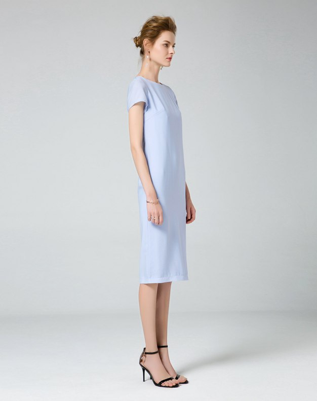블루 반팔 티셔츠 기타 여성 드레스