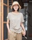 White Plain Round Neck Short Sleeve Fitted Women's T-Shirt
