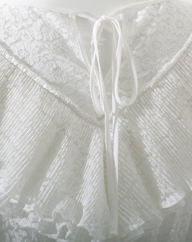 White Round Neck Cropped Sleeve Standard Women's Dress