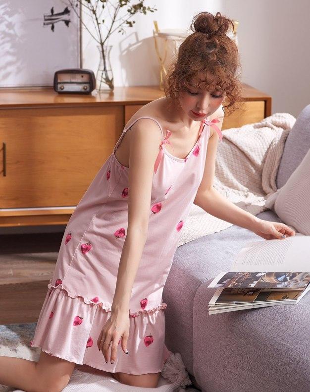 Pink Cotton Short Sleeve Thin Women's Sleepwear