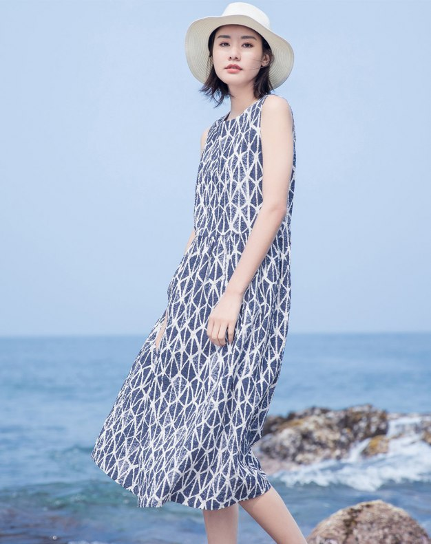 Blue Round Neck Sleeveless Long Loose Women's Dress