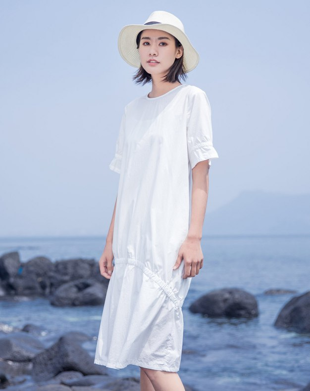 White Round Neck Short Sleeve Long Fitted Women's Dress