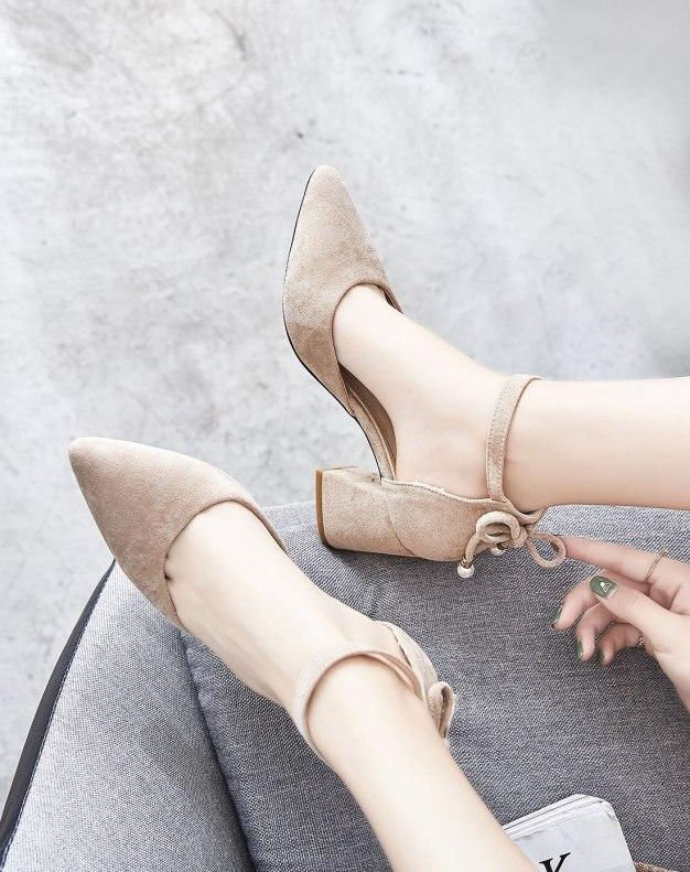 Beige Pointed High Heel Anti Skidding Women's Sandals