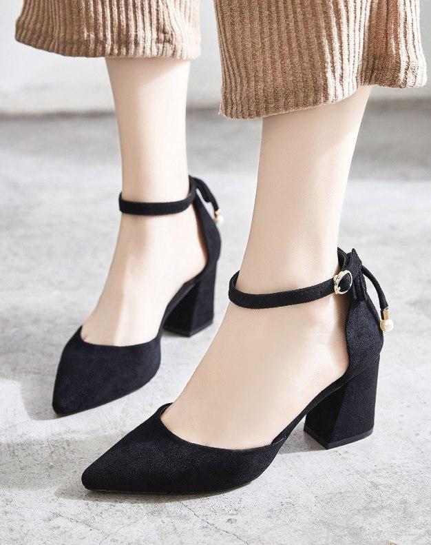 Black Pointed High Heel Anti Skidding Women's Sandals