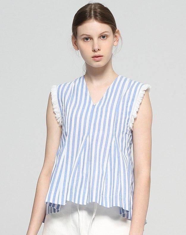 Blue V Neck Sleeveless Loose Women's Shirt