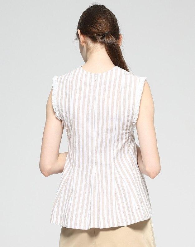 Apricot V Neck Sleeveless Loose Women's Shirt