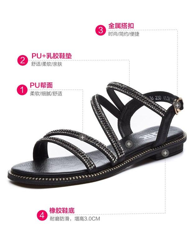 Black Flat Anti Skidding Women's Sandals