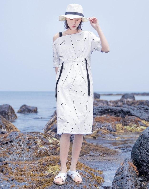 White Off Neckline Short Sleeve Long Fitted Women's Dress