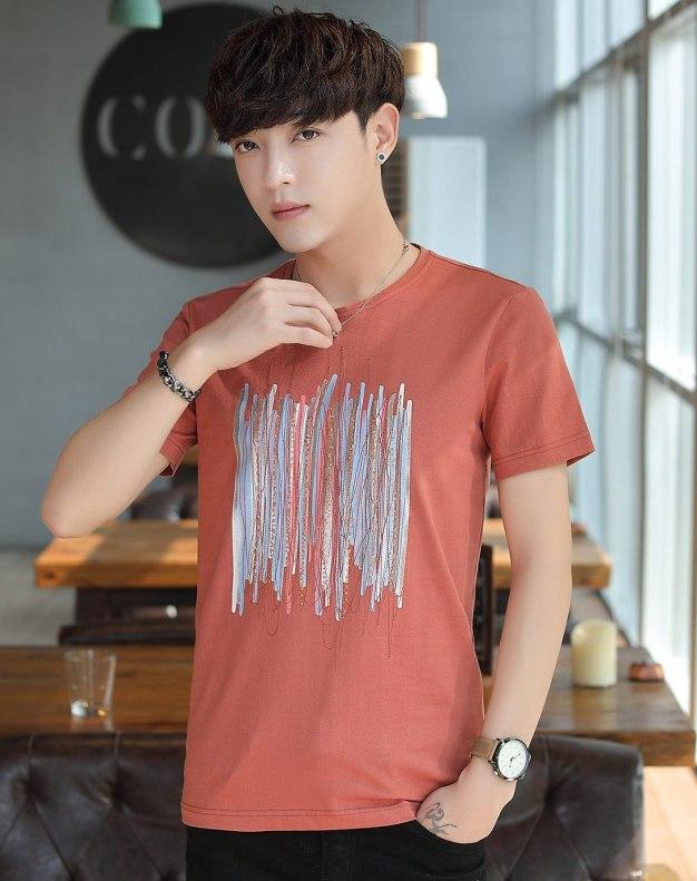 Red Plain Round Neck Short Sleeve Men's T-Shirt