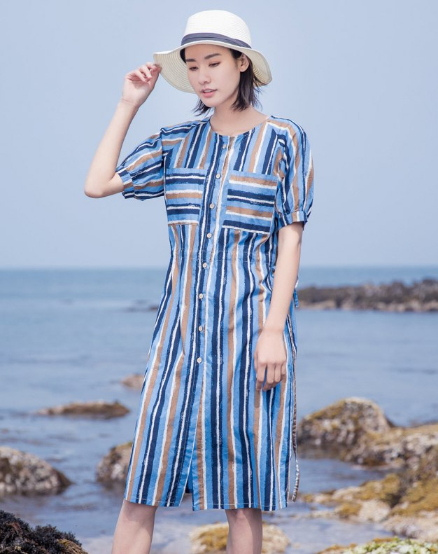Round Neck Short Sleeve 3/4 Length Fitted Women's Dress