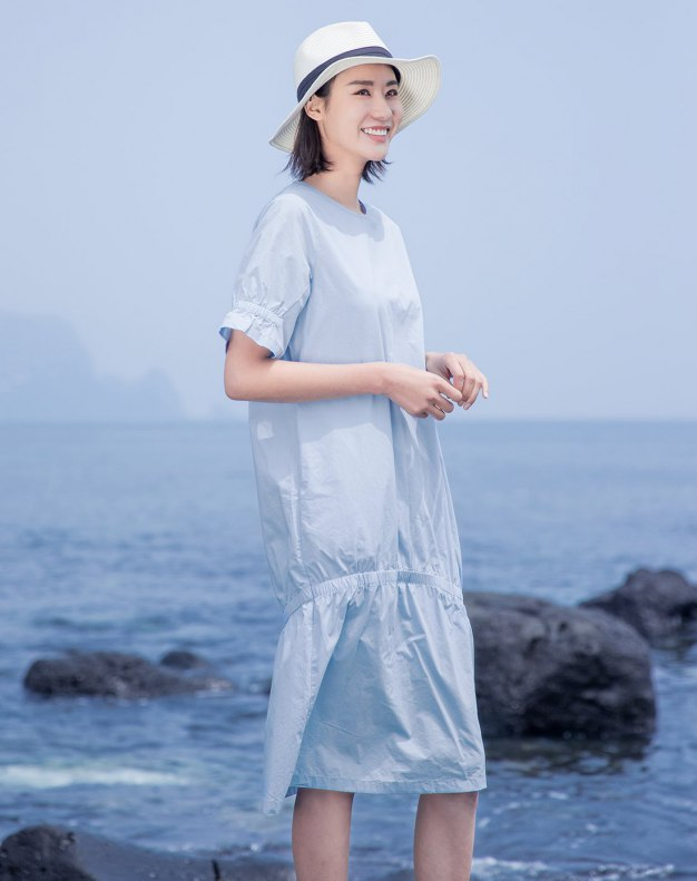 Blue Round Neck Short Sleeve Long Fitted Women's Dress