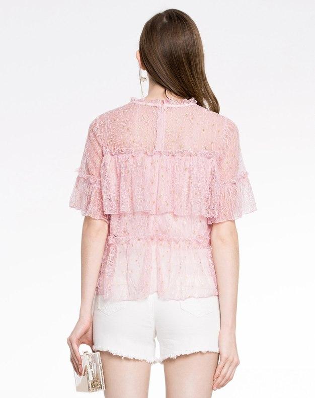 Plain Round Neck One Botton Half Sleeve Loose Women's Shirt