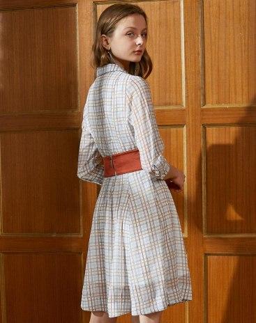 V Neck 3/4 Sleeve High Waist Standard Women's Dress