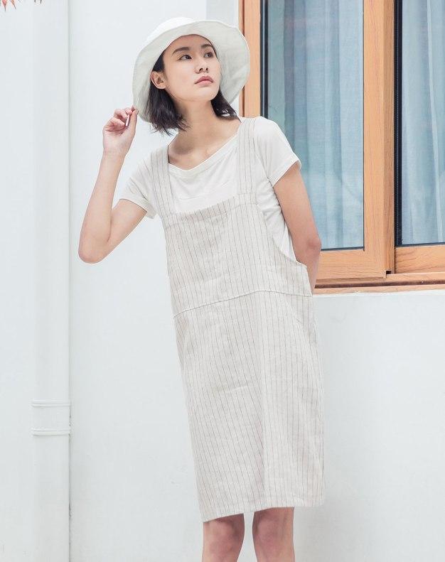 Beige Square Neck Sleeveless 3/4 Length Standard Women's Dress