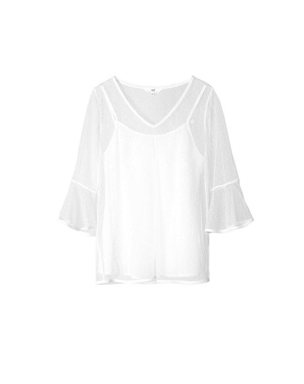 White Plain V Neck Elastic Half Sleeve Fitted Women's Shirt