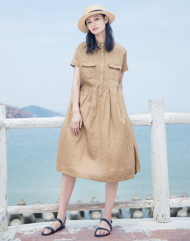 Camel Shirt Collar  Short Sleeve Long Standard Women's Dress