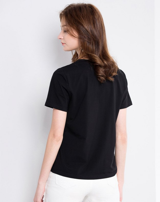 Black Animal Round Neck Short Sleeve Loose Women's T-Shirt