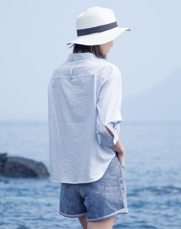 Blue Stripes Stand Collar 3/4 Sleeve Standard Women's Shirt