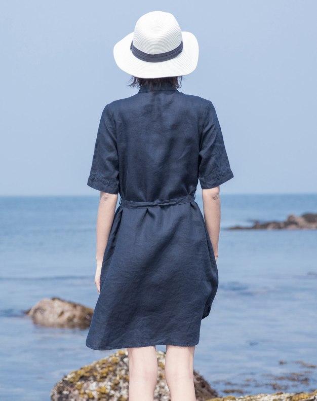 Indigo Stand Collar Short Sleeve 3/4 Length Women's Dress