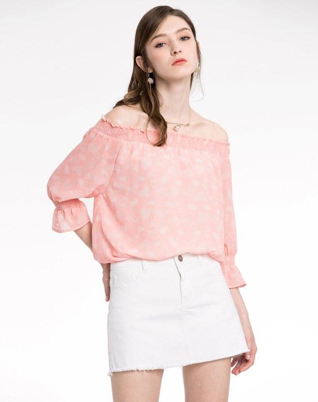 Pink Floral Off Neckline Elastic Half Sleeve Loose Women's Shirt