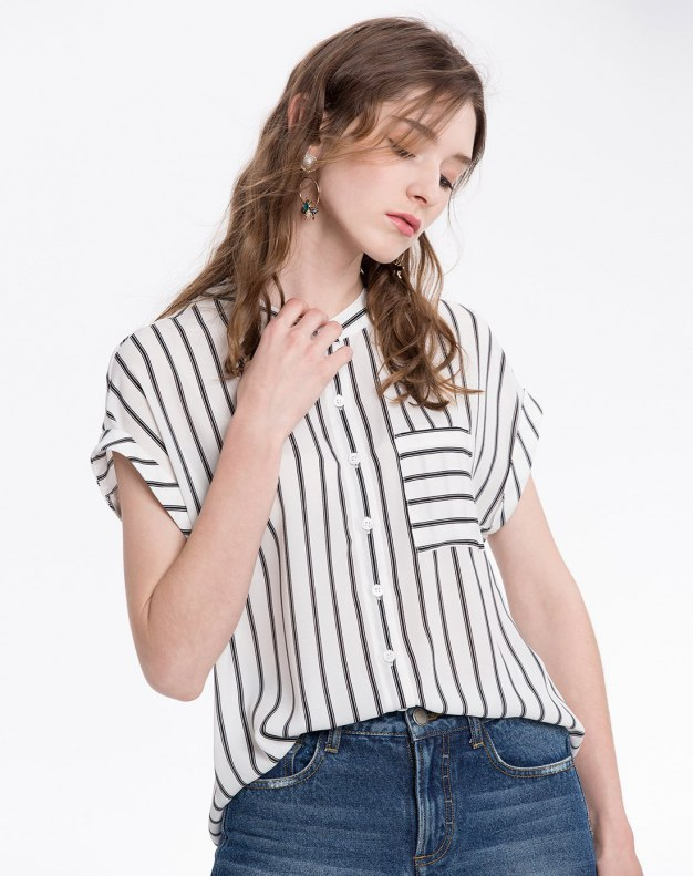 Stripes Stand Collar Short Sleeve Women's Shirt