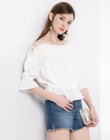 White Plain Off Neckline Elastic Half Sleeve Loose Women's Shirt