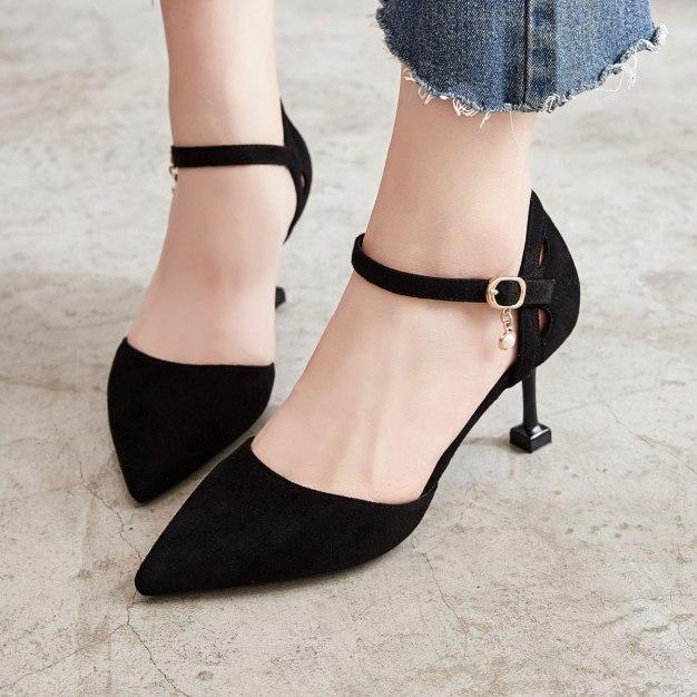Black Pointed High Heel Heighten Women's Sandals