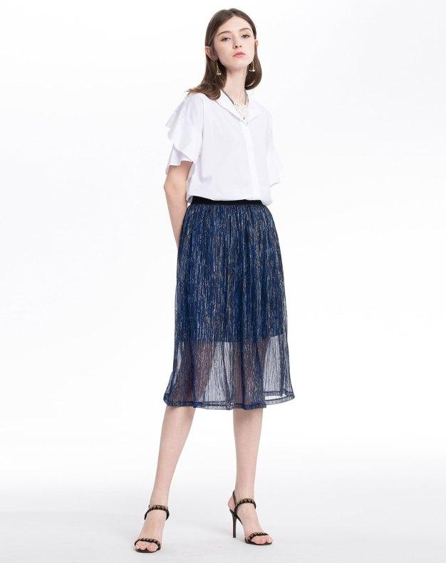 White Plain Shirt Collar Short Sleeve Women's Shirt
