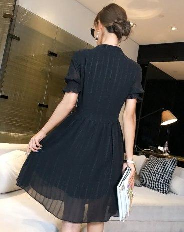 Black V Neck 3/4 Length A Line Shaped Women's Dress