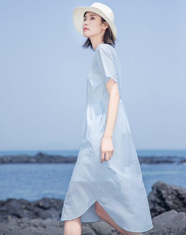 Blue Round Neck Short Sleeve Long Standard Women's Dress