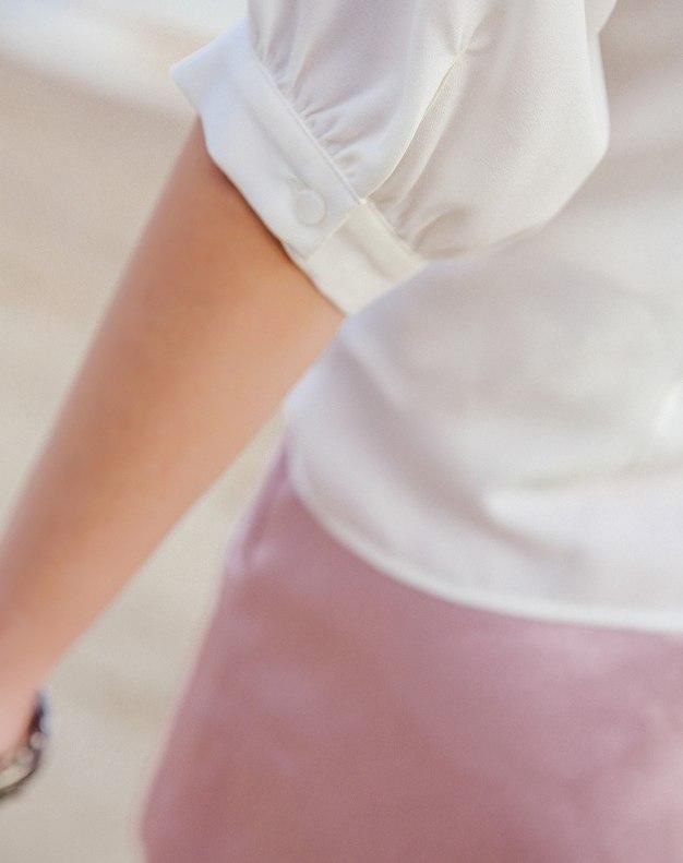 White Embroidery Shirt Collar Half Sleeve Women's Shirt
